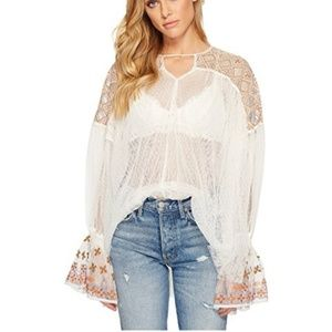 Free People Joyride Sheer Embroidered Top Small